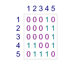 Adjacency matrix for the graph